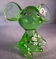 Fenton Green Glass Mouse Figurine