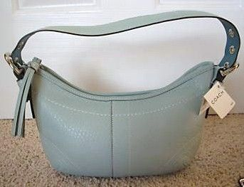 Small Pebble Leather Hobo Light Blue