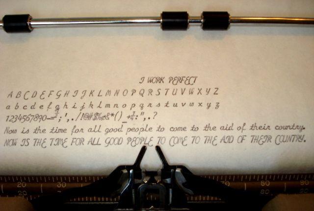 Smith Corona Cursive Script Font Example