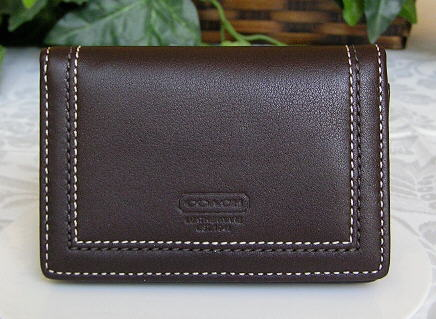 Soho Leather Card Case Mahogany Front