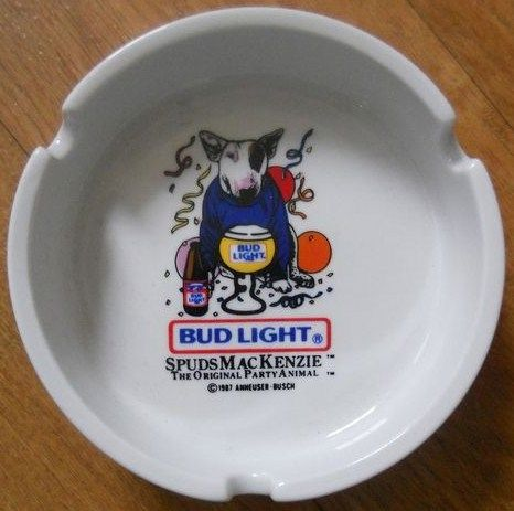 Spudz Mackenzie Bud Light Ashtray 1987