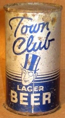 Town Club Flat Top Beer Can w Opening Instructions