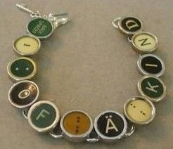 Typewriter Key Bracelet with Green Cream & Black Keys