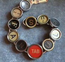 Typewriter Key Bracelet w Message and Colored Keys
