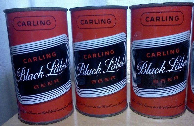 Three Carling Black Label Flat Top Beer Cans