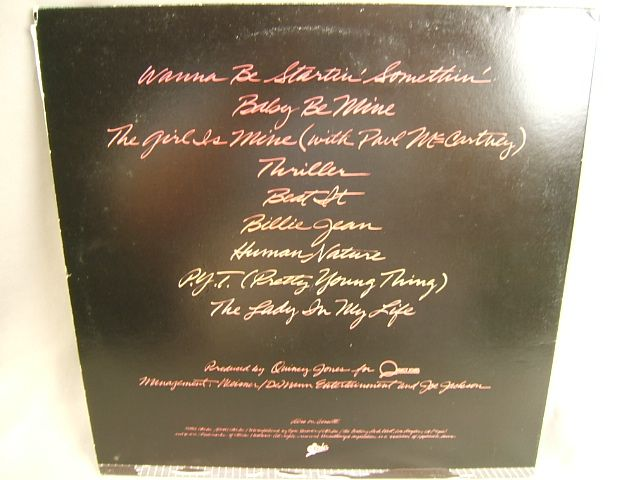 Thriller LP back cover