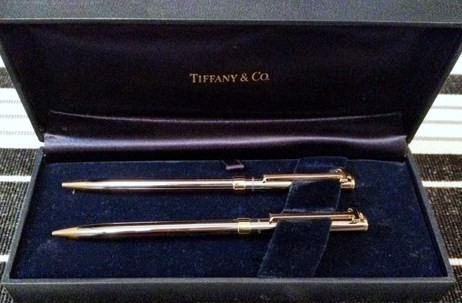 Tiffany t-clip Chrome & Gold Plated Pen/Pencil Set