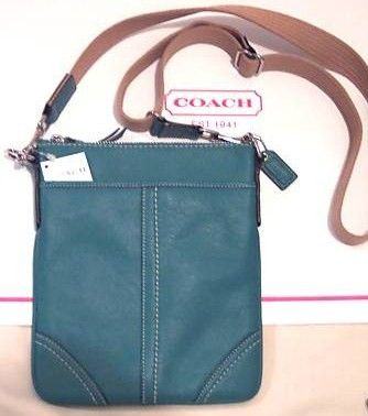 Turquoise Leather Swing Pack