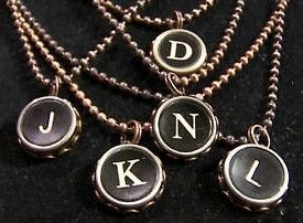 Typewriter Key Necklaces with Initial in Copper