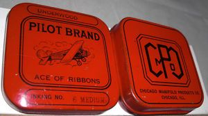 Square Pilot Brand Typewriter Ribbon Tin Top & Bottom