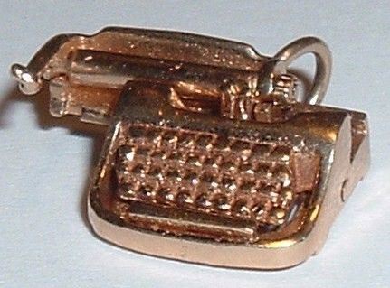 Vintage 14K Gold 3D Moveable Typewriter Charm