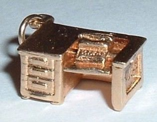 Vintage 14K Gold 3D Moveable Typewriter Desk Charm