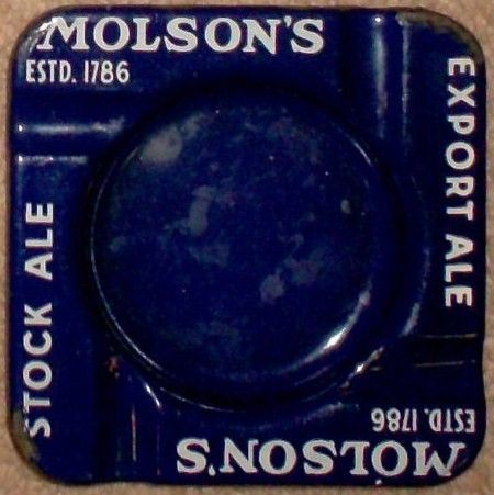 1930 Molson's Ale Porcelain Cigarette Ashtray