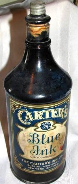 Vintage 1950'S Carter Cobalt Blue 32 Ounce Master Ink Bottle