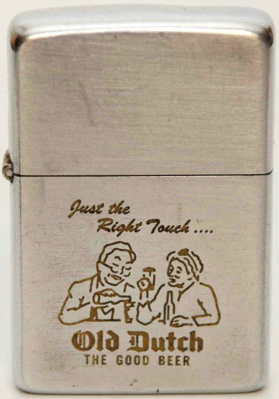 Vintage 1950s era Zippo Old Dutch Beer Advertising Lighter