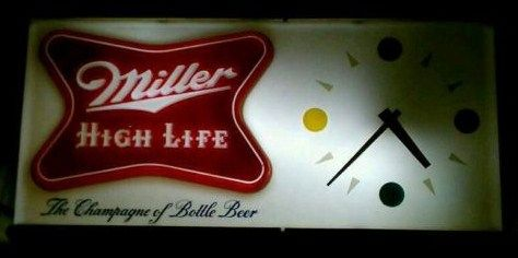 Vintage 1957 Miller High Life Beer Clock Light Sign