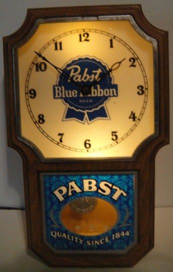 Vintage 1960s Pabst Blue Ribbon PBR Lighted Pendulum Clock Sign
