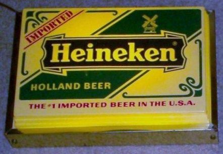 Vintge 1970s Heineken Plastic & Brass Lighted Beer Sign