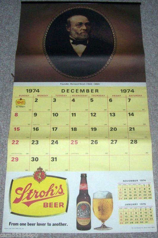 Vintage 1975 13 month Stroh's Beer Calendar