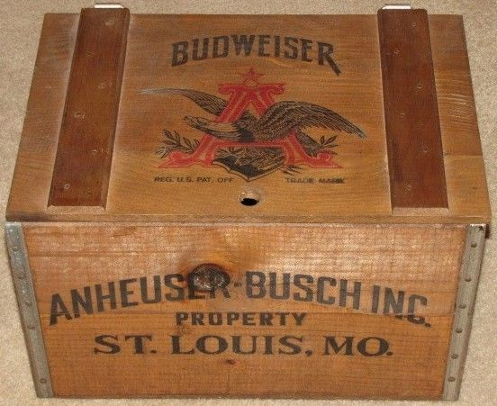 Vintage Anheuser Bush Budweiser Beer Wooden Crate Box