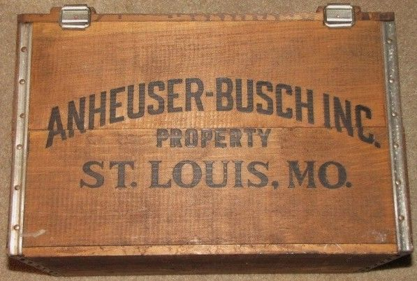 Vintage Anheuser Busch Budweiser Beer Wooden Crate Box Top View