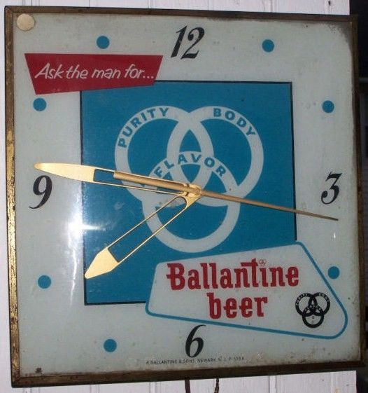 Vintage Ballantine Beer Convex Glass Lighted Clock-Square