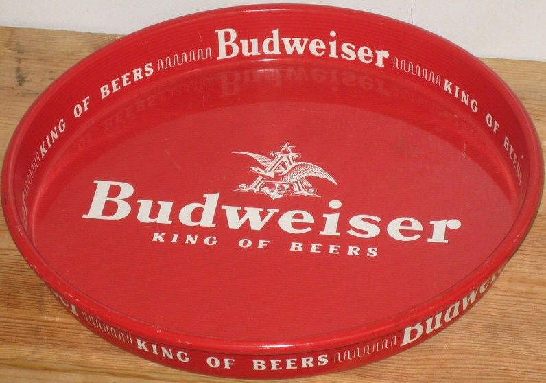Vintage Budweiser Beer Tray Metal Red & White