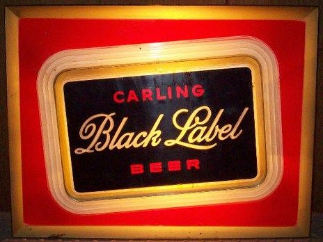 Vintage Carling Black Label Beer Lighted Bar Sign