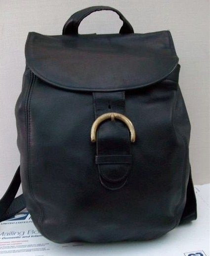 Coach Vintage Black Leather Backpack