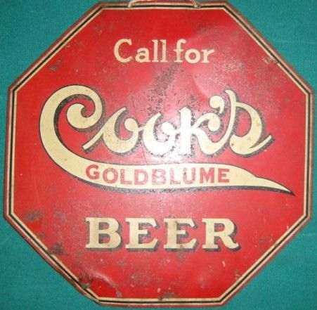 Vintage Cook's Goldblume Beer Metal Tin Sign Octagon