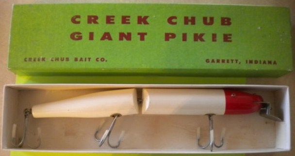 Vintage Creek Chub Giant Jointed Pikie Lure w/Box Red-White