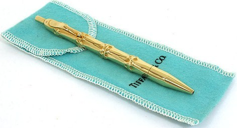 Designer Luxury Bamboo 14K Yellow Gold Motif Tiffany & Co