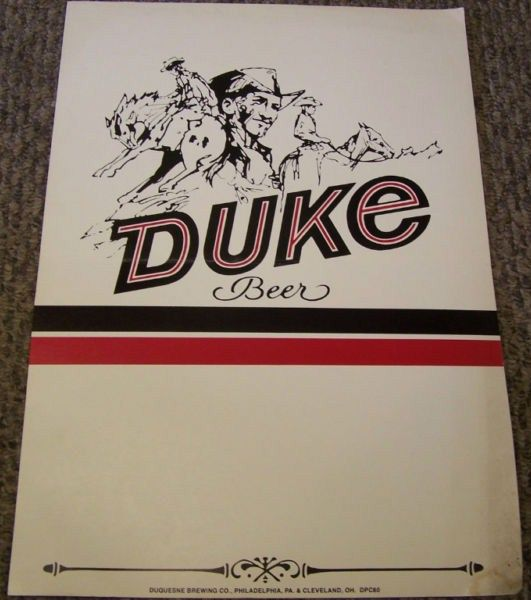 Vintage Duke Beer Display Price Board