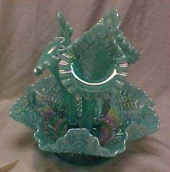 Vintage Fenton Carnival Glass Aqua Epergne 3 Vase Bowl