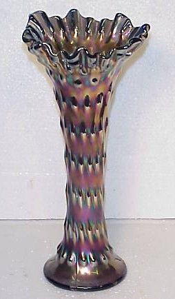 Vintage Fenton Carnival Glass Rustic Vase Cobalt Blue