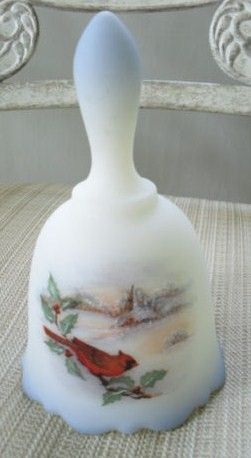 Vintage Fenton Christmas Signed Cardinal Bird Bell 1970's