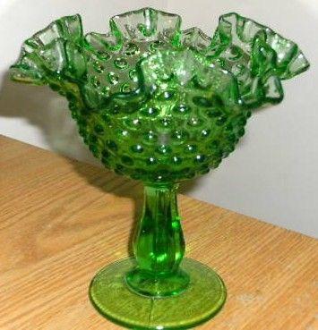Vintage Fenton Green Hobnail Candy Dish