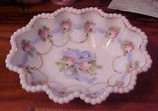 Vintage Fenton Hand Painted Candy Dish Hobnail Border
