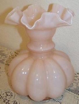Vintage Fenton Pink Rose Overlay Melon Vase