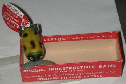 Vintage Millsite Paddle Plug Lure w/Box & Tag