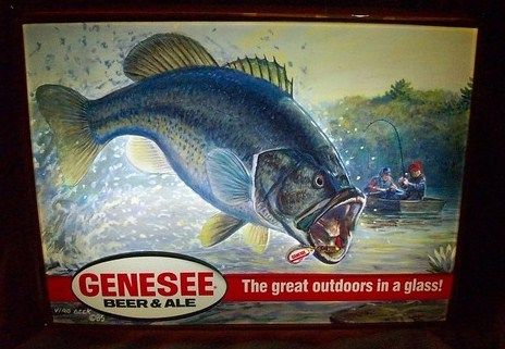 Vintage Genesee Beer Lighted Sign Large Mouth bass 1985