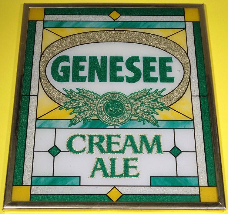 Vintage Genesee Cream Ale Sign - Old Stained Glass Look