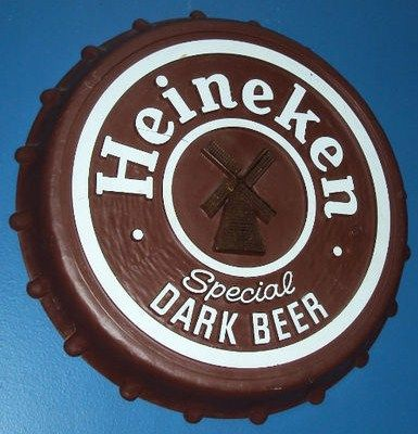 Vintage Heineken Dark Beer Plastic Bottle Cap Bar Sign