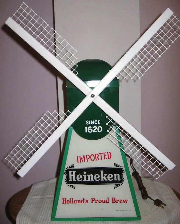 Vintage Heineken Light Up Windmill w Moving Blades
