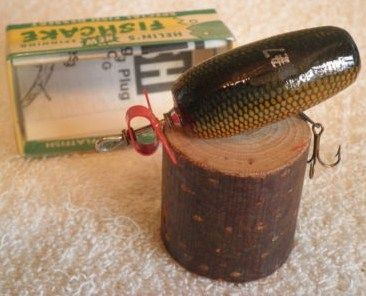 Vintage Helin Fishcake Wood Lure w/Box & Paper-Color SCW