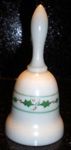 Vintage Milk Glass Christmas Fenton Bell Signed Debi L