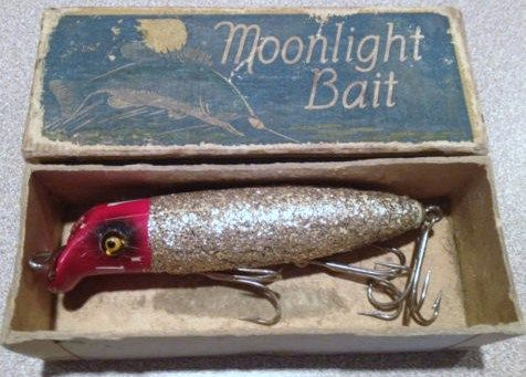 Vintage Moonlight Bass Seeker Wood Fishing Lure w/Box