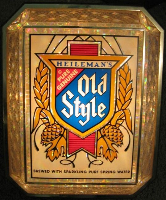Old Style Beer Lighted Cut Glass Bar Sign