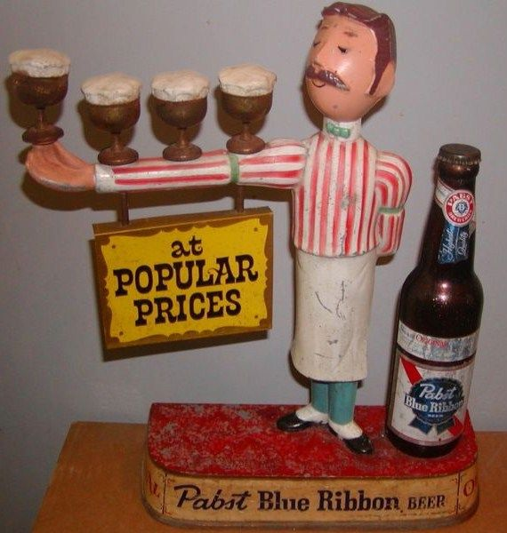 Vintage Pabst Blue Ribbon Bartender Metal Display Sign