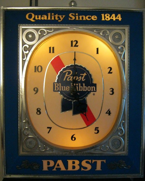 Vintage Pabst Blue Ribbon bar Clock Sign